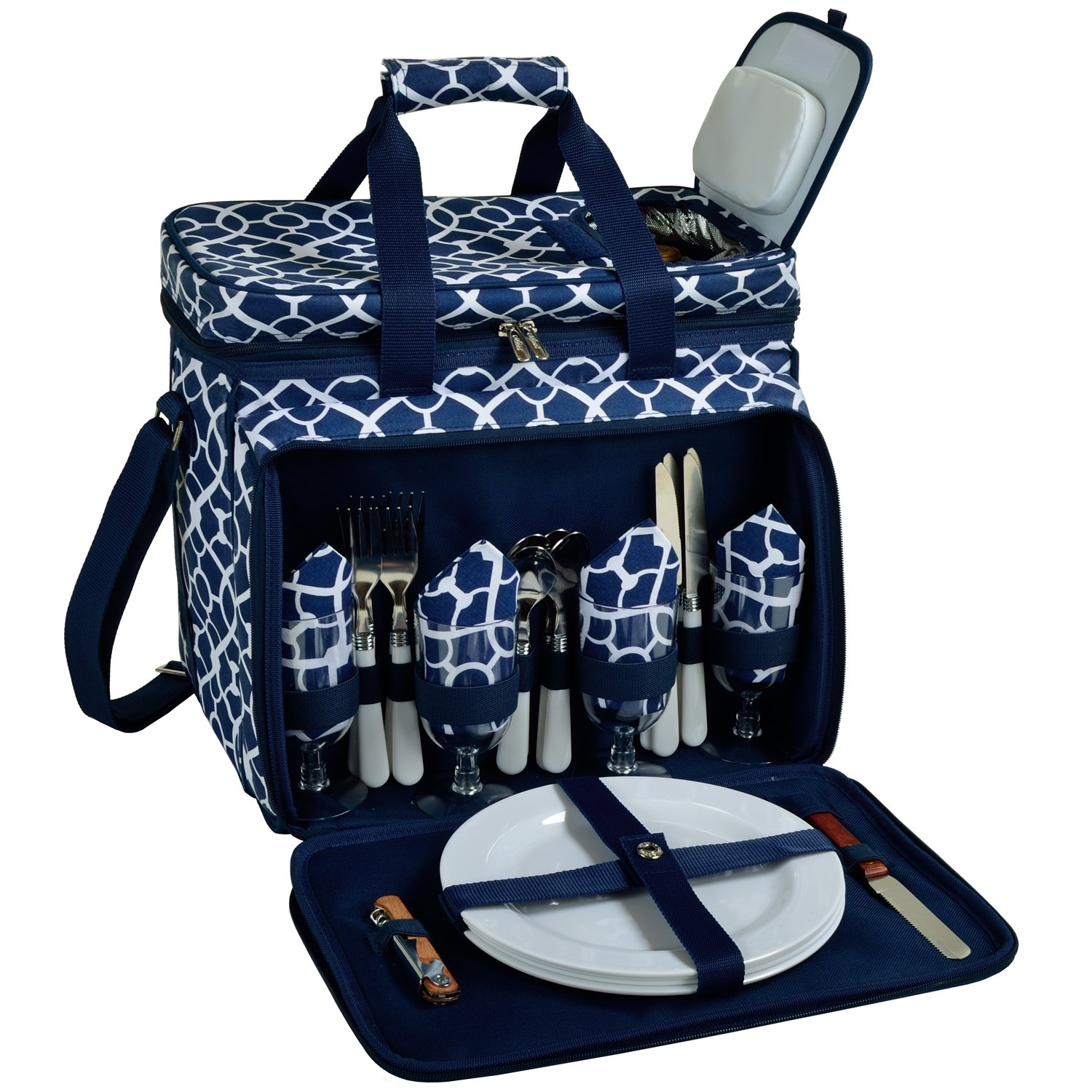 Picnic at Ascot Equipped Insulated Picnic Cooler with Service for 4 - Trellis Blue
