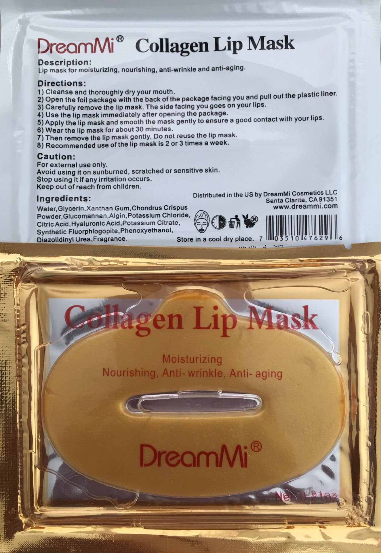 DreamMi 50 Pieces (Comes in 5 Boxes) Gold Bio Collagen Gel Lip Pad Mask Patch Sheet, Moisturizing, Nourishing, Anti Fine Line, Anti Wrinkle and Anti Aging, By DreamMi️ by DreamMi (Image #3)