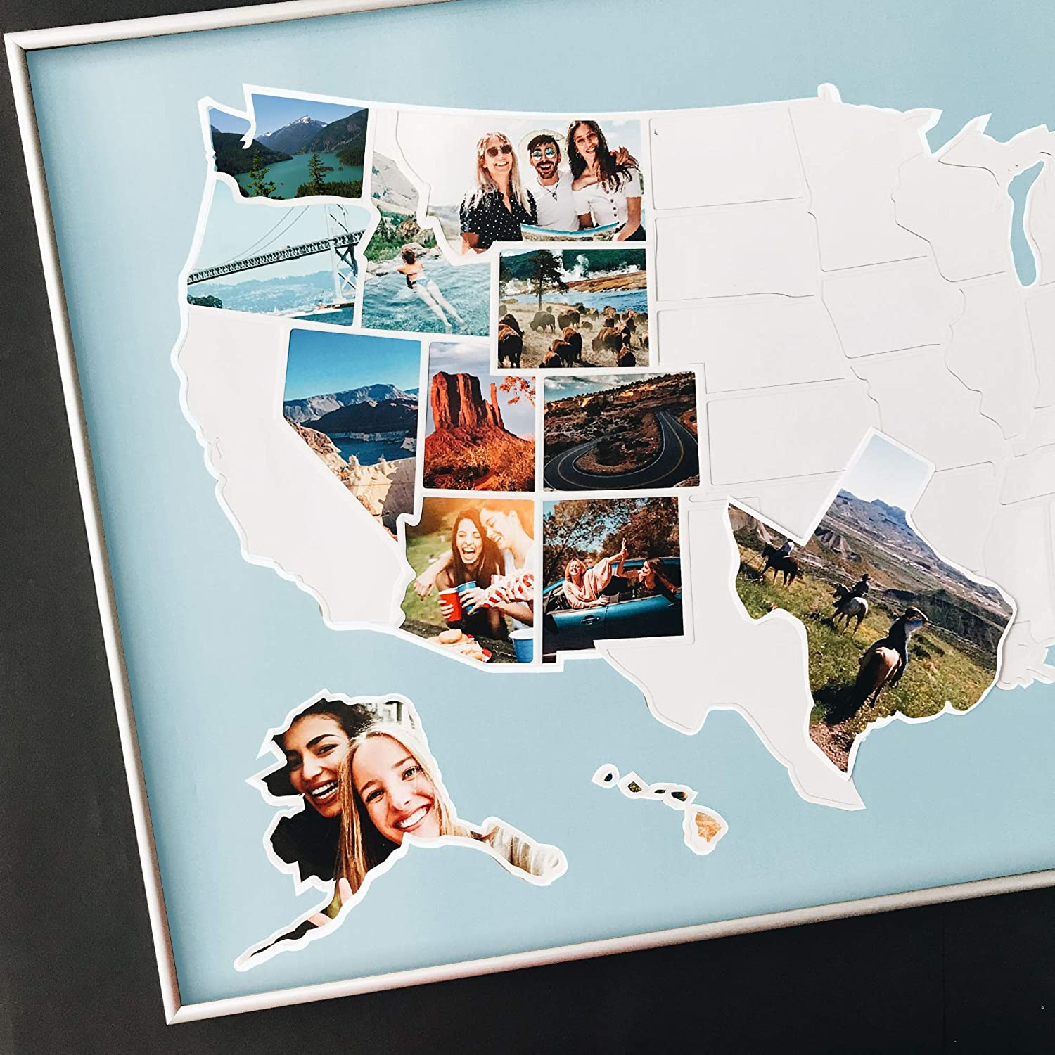 USA Photo Map - 50 States Travel Map - 24 x 36 in - Unframed - Made from Flexible Plastic - Includes Photo Maker - Blue