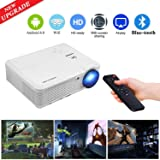 WiFi Wireless Bluetooth Projector Android 6.0 3600 Lumen LCD LED Projector 1080p 720p Full HD, Multimedia Home Theater Video Projector Speakers HDMI Cable Remote for Phone iPhone PC USB Outdoor Movies