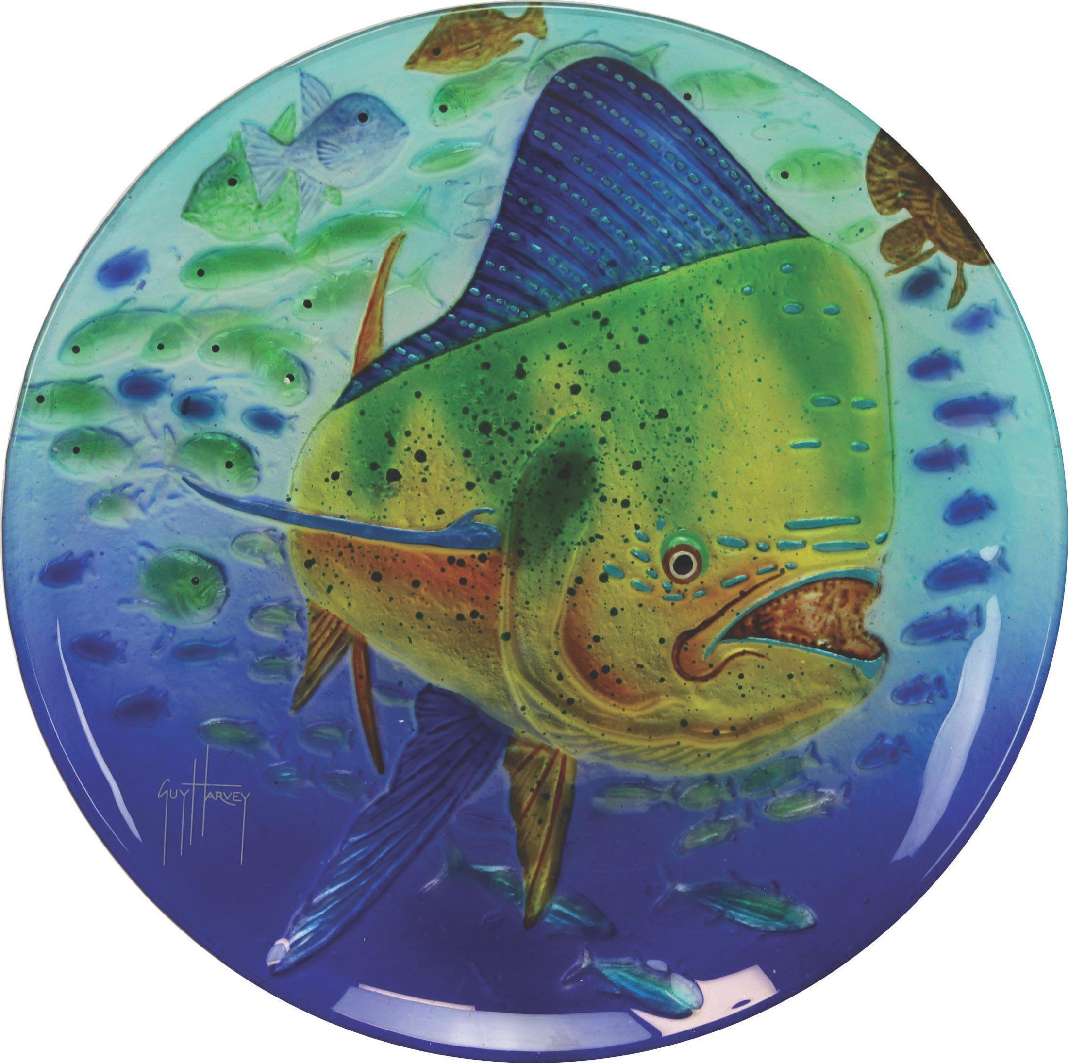 River's Edge Guy Harvey Dorado Glass Platter, 15'' by River's Edge Products