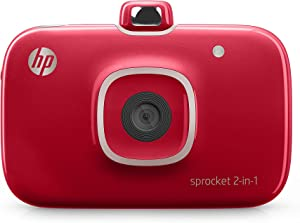 "HP Sprocket 2-in-1 Portable Photo Printer & Instant Camera, print social media photos on 2x3"" sticky-backed paper - Red (2FB98A)"