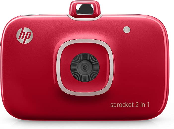 """HP Sprocket 2-in-1 Portable Photo Printer & Instant Camera, print social media photos on 2x3"""" sticky-backed paper - Red (2FB98A)"""