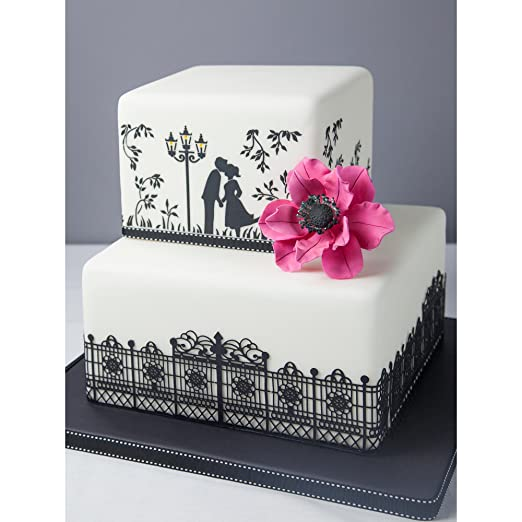 Kissing couple silhouette cake stencils by designer stencils kissing couple silhouette cake stencils by designer stencils amazon kitchen home sciox Images