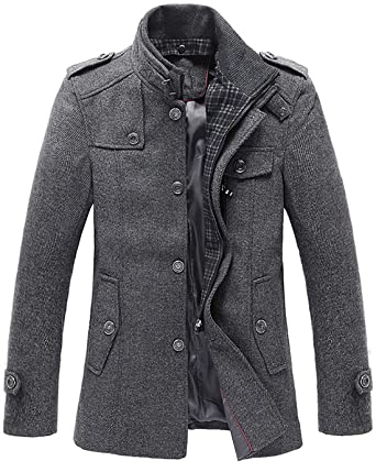 8d087fc0e481 chouyatou Men s Stand Collar Wool-Blend Classic Pea Coat with ...