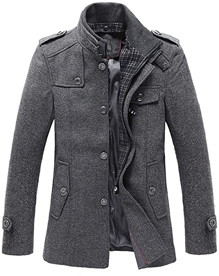 Chouyatou Men's Stand Collar Wool-Blend Classic Pea Coat with ...