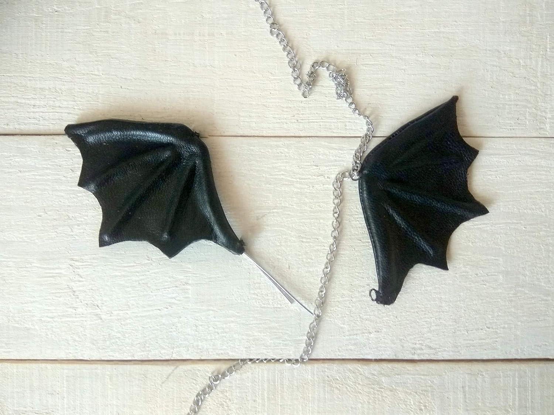 jewelry Fairy BJD little evil doll accessories Miniature Halloween wings black leather bath keychain