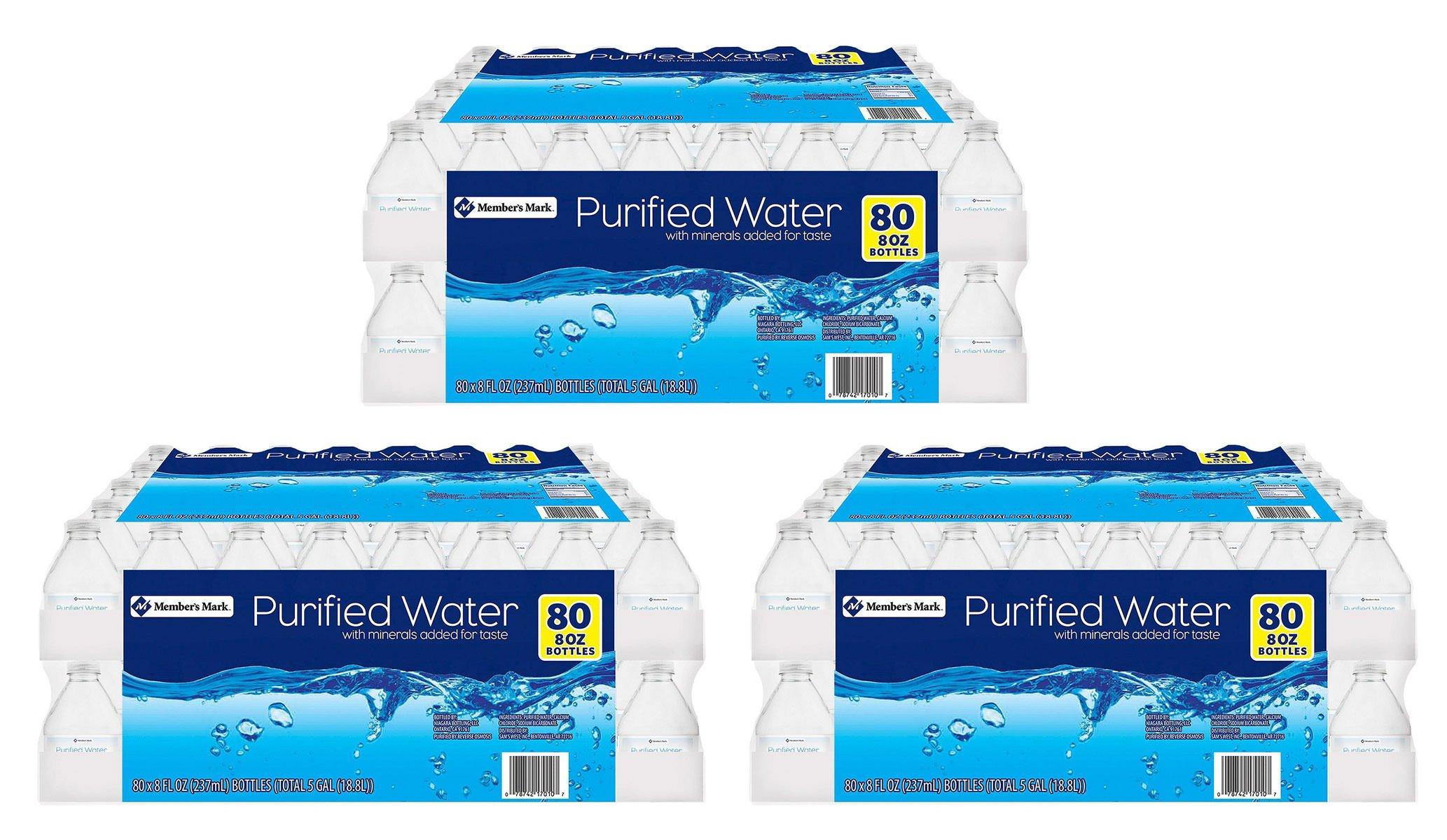 Member's Mark ZGTHA Purified Water, 3 Cases of 80 Count