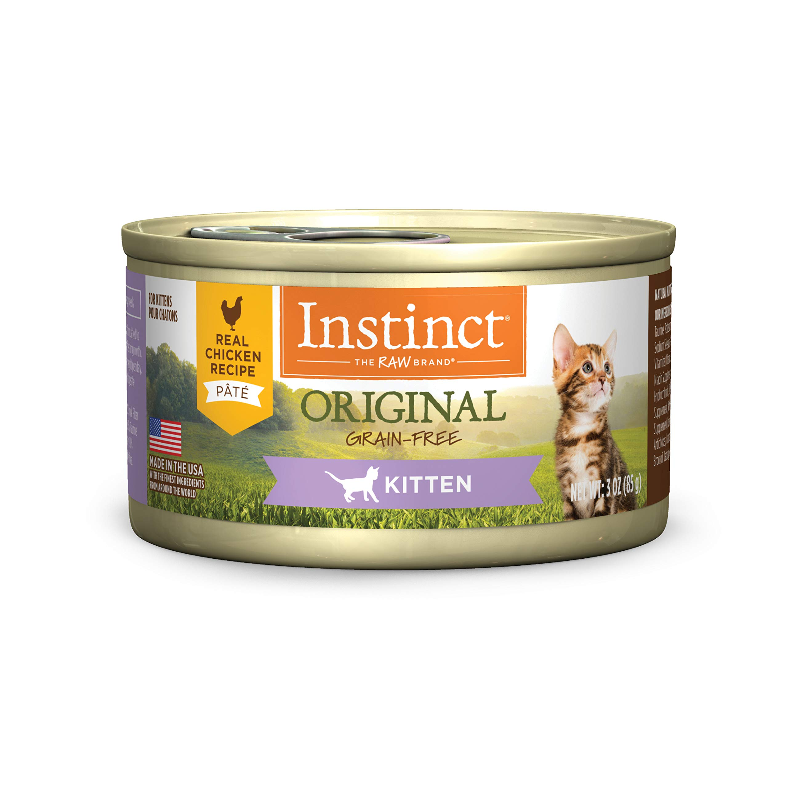 Instinct Original Kitten Grain Free Real Chicken Recipe Natural Wet Canned Cat Food by Nature's Variety, 3 oz. Cans (Case of 24) by Instinct