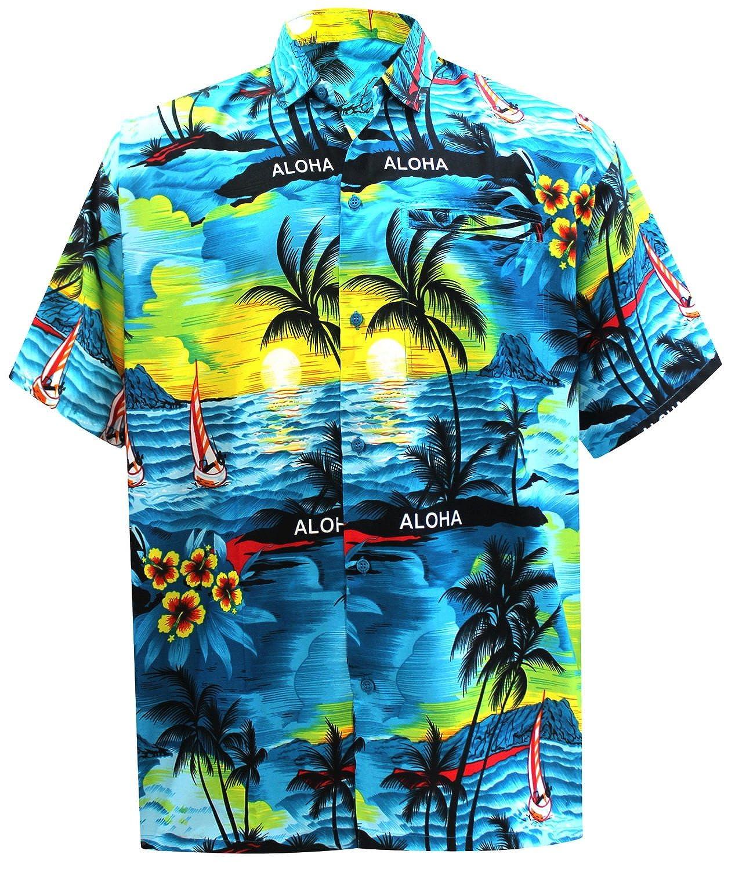 TALLA S - Pecho Contorno (in cms) : 96 - 101. LA LEELA Shirt Camisa Hawaiana Hombre XS - 5XL Manga Corta Delante de Bolsillo Impresión Hawaiana Casual Regular Fit Camisa de Hawaii Azul