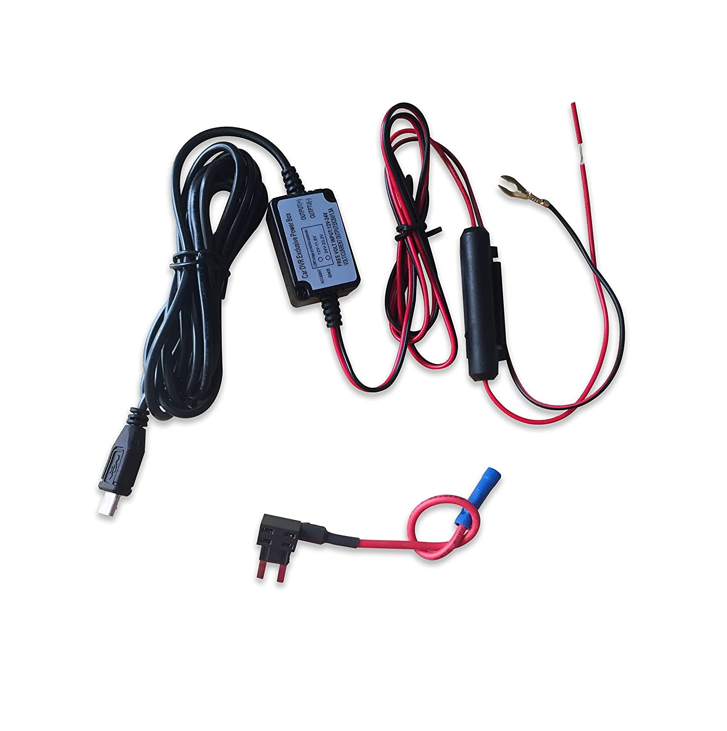 Wocst Car Camera Hard Wire Kit With Micro USB Direct Hardwire Car Charger Cable Kit For HD PRO & All Micro USB Dashboard Camera Power Supply Car Charger GPS Car DVR Power Box