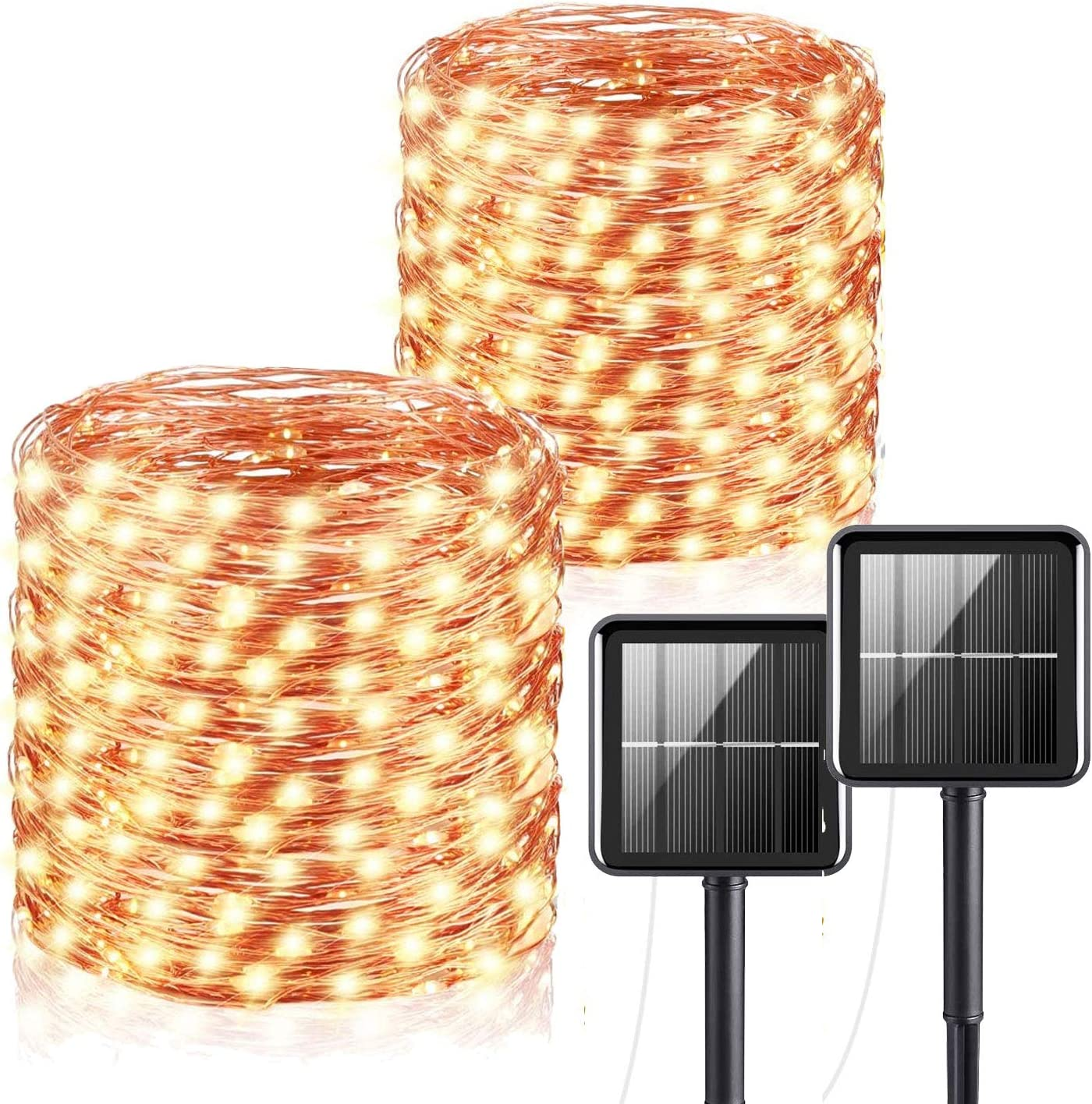 Solar String Lights Outdoor, Solar Fairy Lights 65ft/20m 200 LED 8 Modes Garden Solar Lights Waterproof Garden Lights Copper Wire Lighting for Patio Yard Party Wedding Christmas (2 Pack)