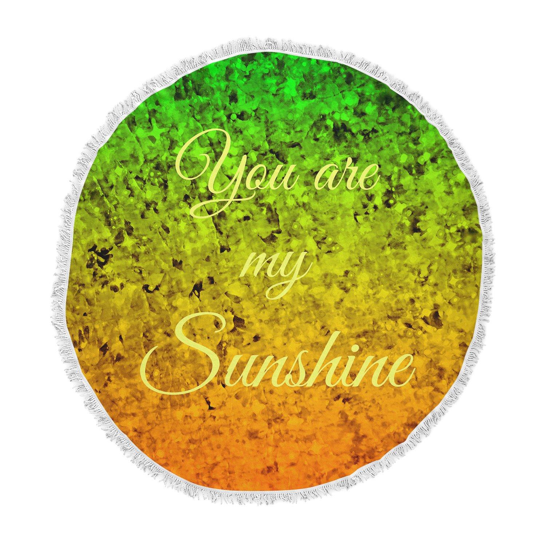Kess InHouse EBI Emporium You are My Sunshine Green Orange Round Beach Towel Blanket
