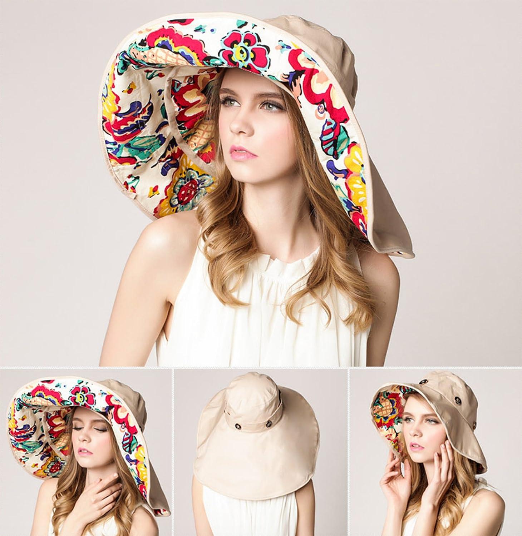e43777fc369 Elonglin Womens Wide Brim Beach Hat Sun Hat Detachable Foldable Cap Anti-UV  EL.MZ0369-D  1541778087-172932  - CA 14.62