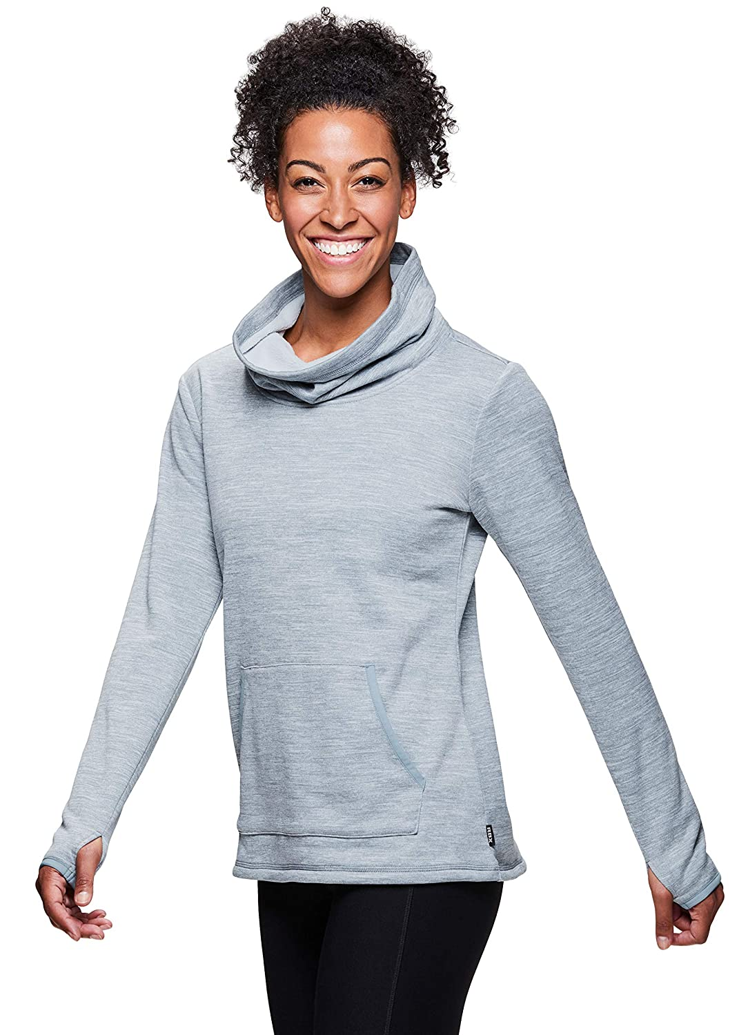 9363fa2393f RBX Active Women's Brushed Back Space Dye Cozy Cowl Neck Pullover Tunic at  Amazon Women's Clothing store:
