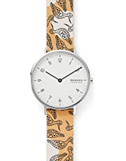 Skagen Women's Aaren Stainless Steel and Leather Floral Quartz Watch