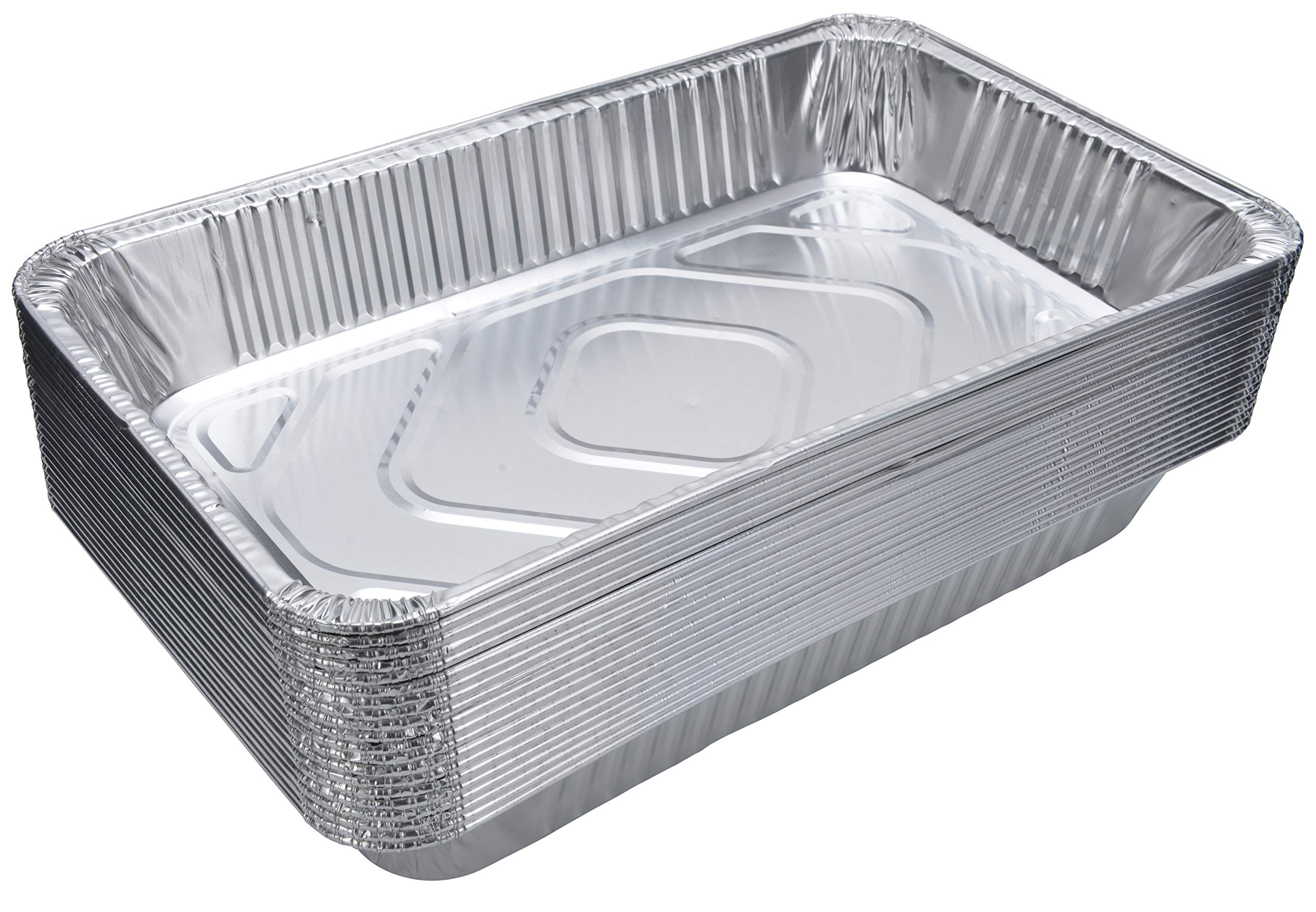 DOBI (15-Pack) Full-Size Deep Chafing Pans - Disposable Aluminum Foil Steam Table Deep Pans, Large Size - 20 1/2'' x 12 1/2'' x 3 1/4''