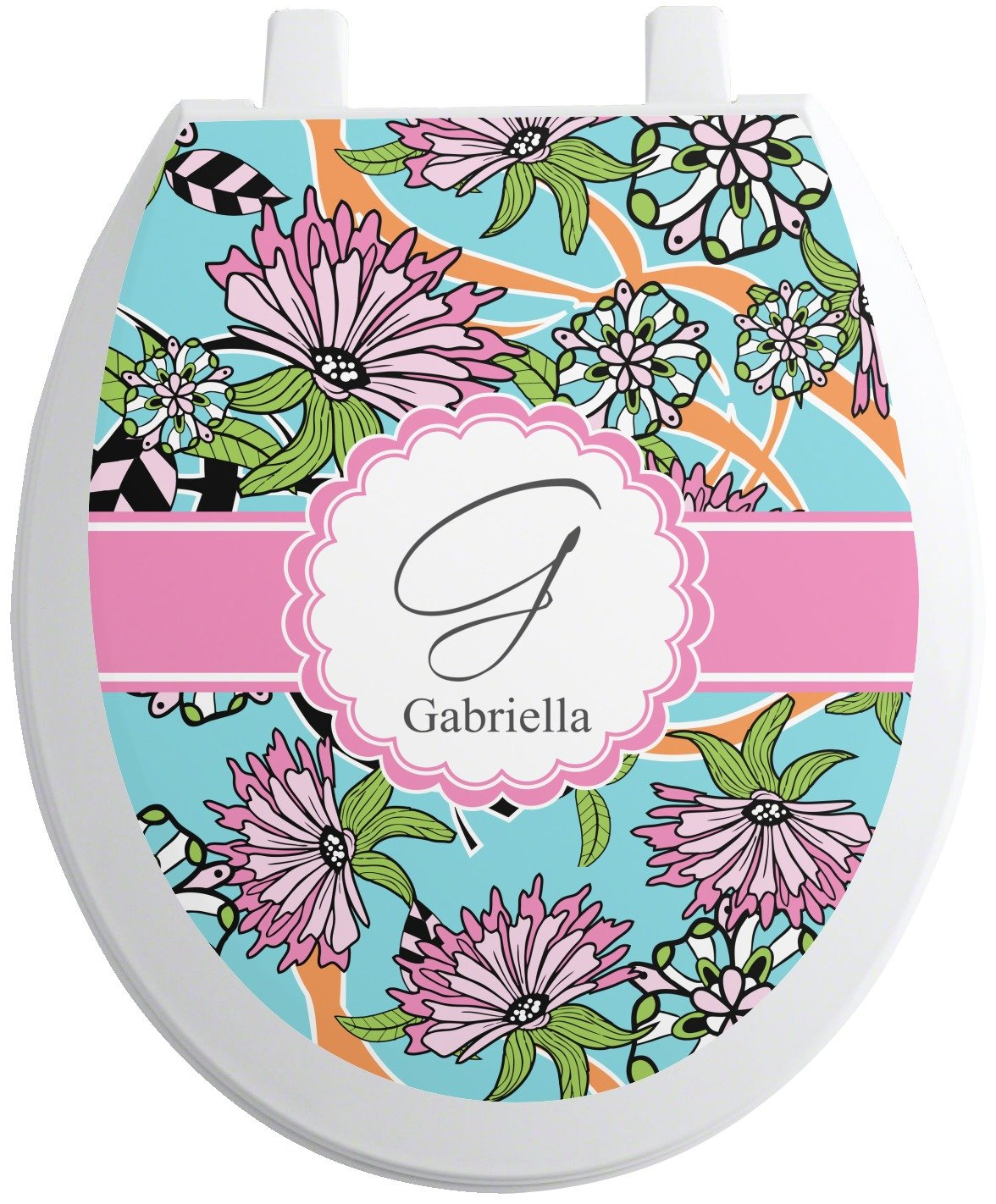Summer Flowers Toilet Seat Decal - Round (Personalized) on sale
