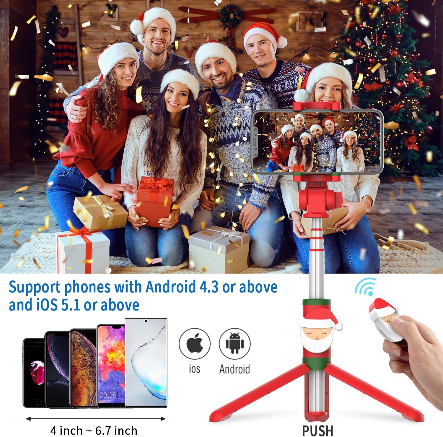 Other Smartphones Samsung Galaxy S10//S9//S8//Note Series Christmas Santa Mituyo Bluetooth Selfie Stick Tripod with Wireless Remote Shutter Compatible with iPhone 11//X//8//7//6 Series Huawei