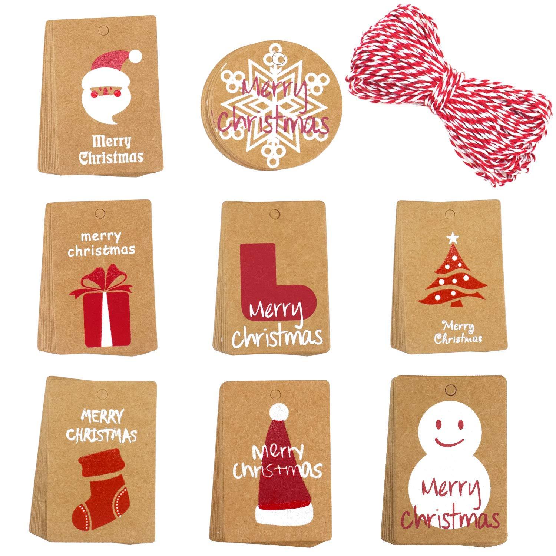 Etichette regalo natalizie con stringa, 120 pezzi Merry Christmas Kraft etichette regalo di Natale etichetta di carta marrone con spago stringa per Natale, Natale, vacanza QULiTAN
