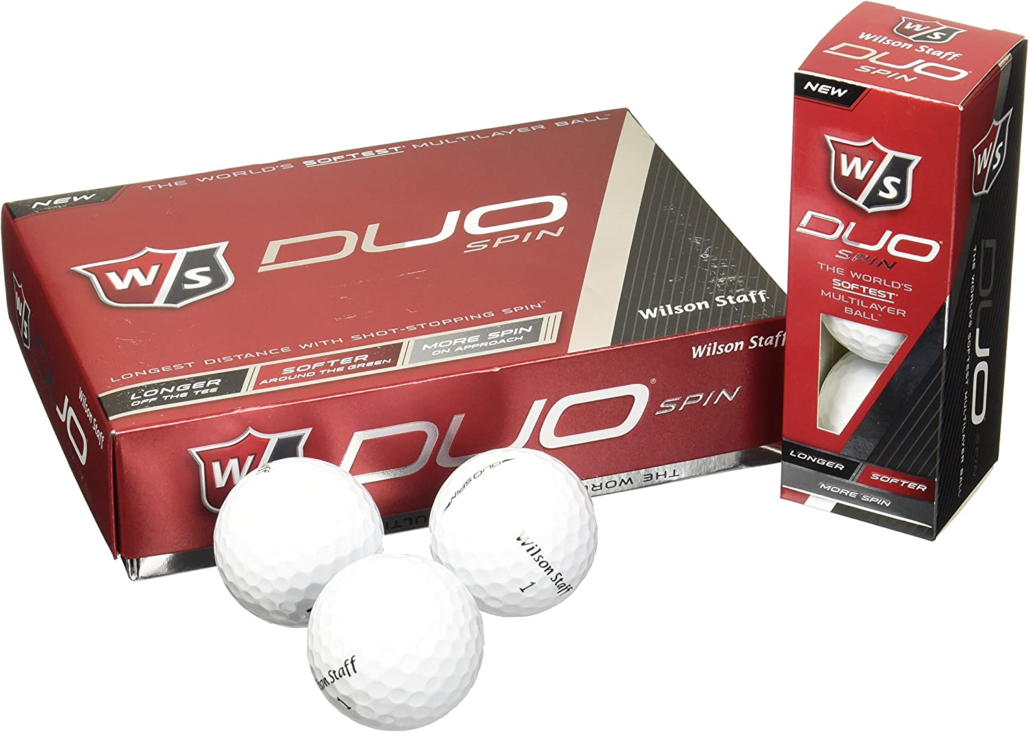 Wilson Staff Duo Spin Golf Balls (12-Pack), White