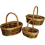 Wald Imports Brown Willow & Woodchip  Decorative Nesting Storage Baskets, Set of 3