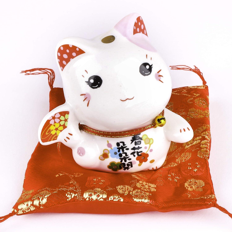 Maneki Neko di porcellana - piccolo gatto fortunato giapponese (Orecchio nero) Goodwei 730