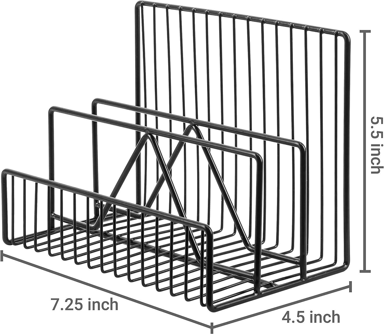 3 F/ächer Schwarz Metall MyGift Briefsortierer