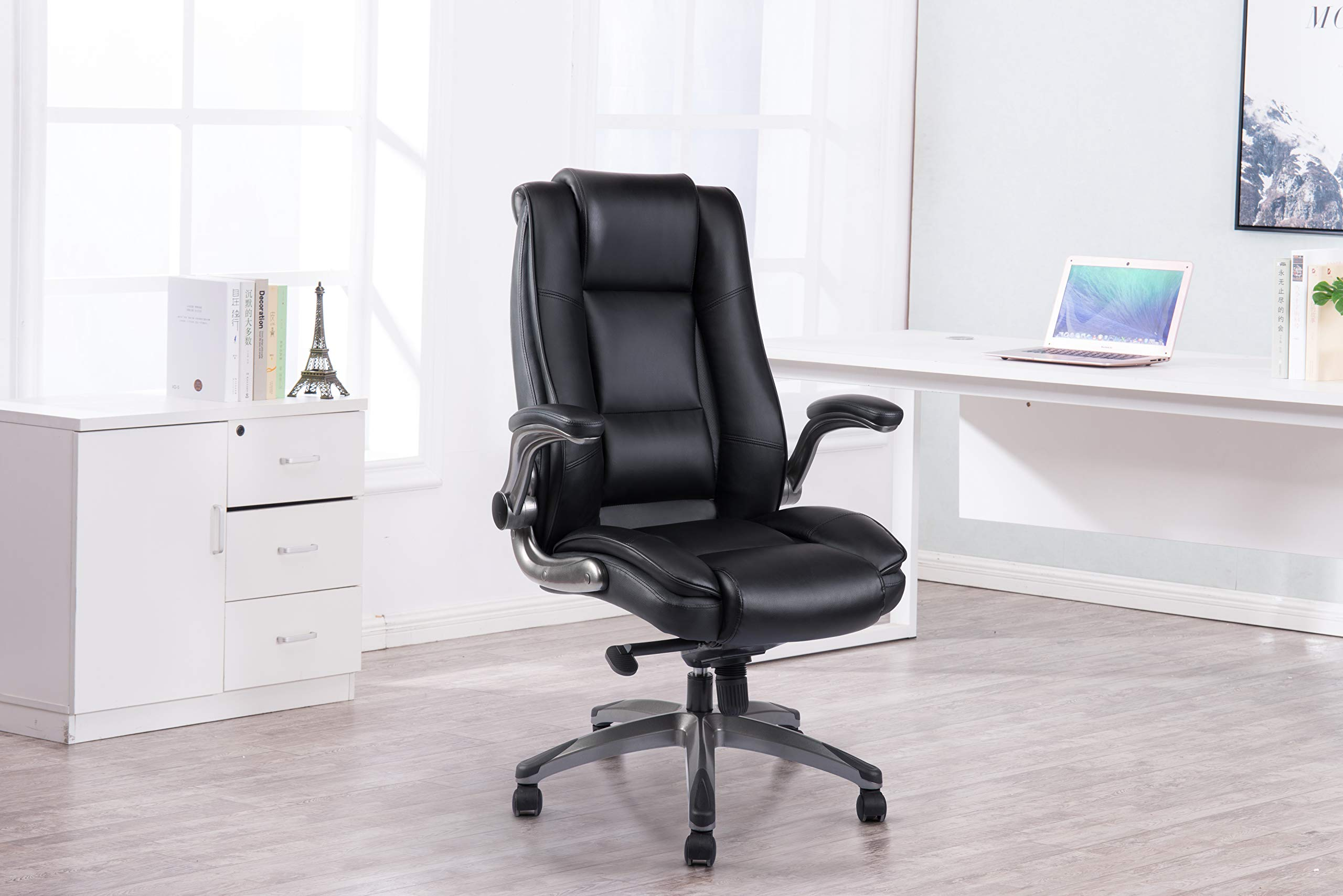 VANBOW High Back Leather Office Chair - Adjustable Tilt Angle and Flip-up Arms Executive Computer Desk Chair, Thick Padding for Comfort and Ergonomic Design for Lumbar Support, Black by VANBOW (Image #7)