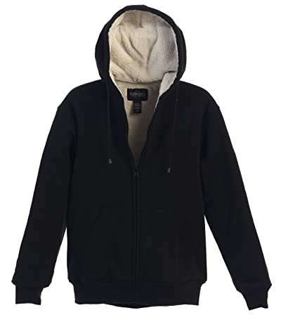 Gioberti Mens Sherpa Lined Pull Zip Fleece Hoodie Jacket