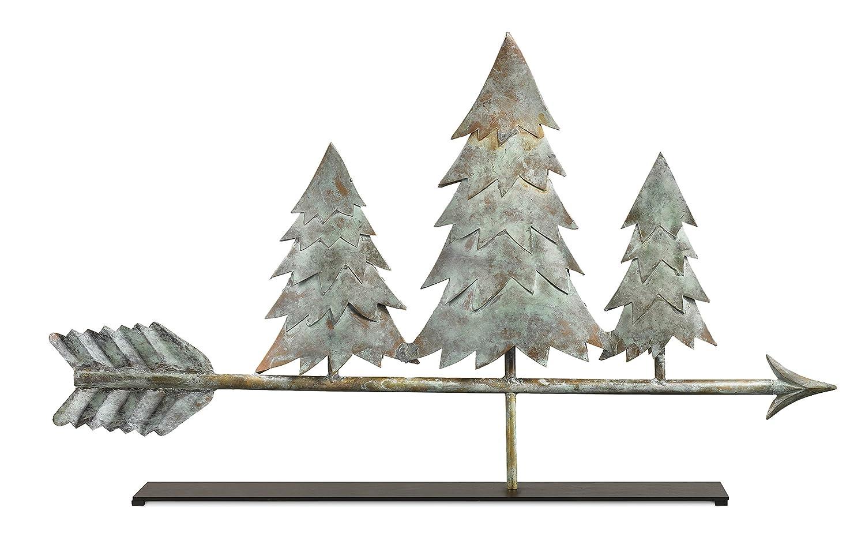Good Directions Pine Trees Blue Verde Copper Table Top Sculpture - Home Decor