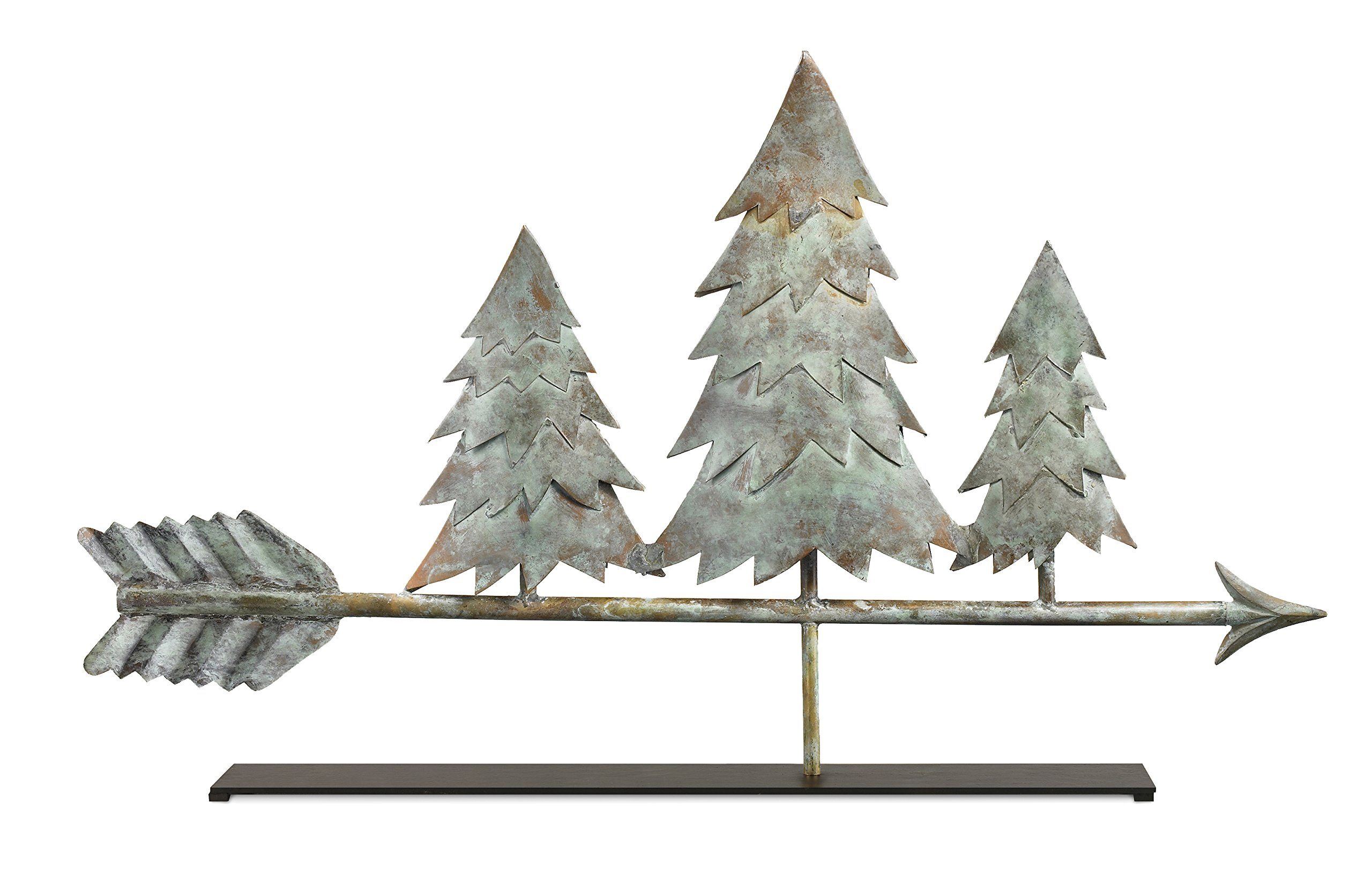 Good Directions Pine Trees Weathervane Sculpture on Mantel / Fireplace Stand, Blue Verde Pure Copper, Nature Home Décor, Tabletop Accent
