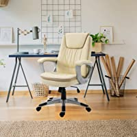 Halter Executive - Silla de escritorio de piel con ruedas, silla giratoria ergonómica para ordenador