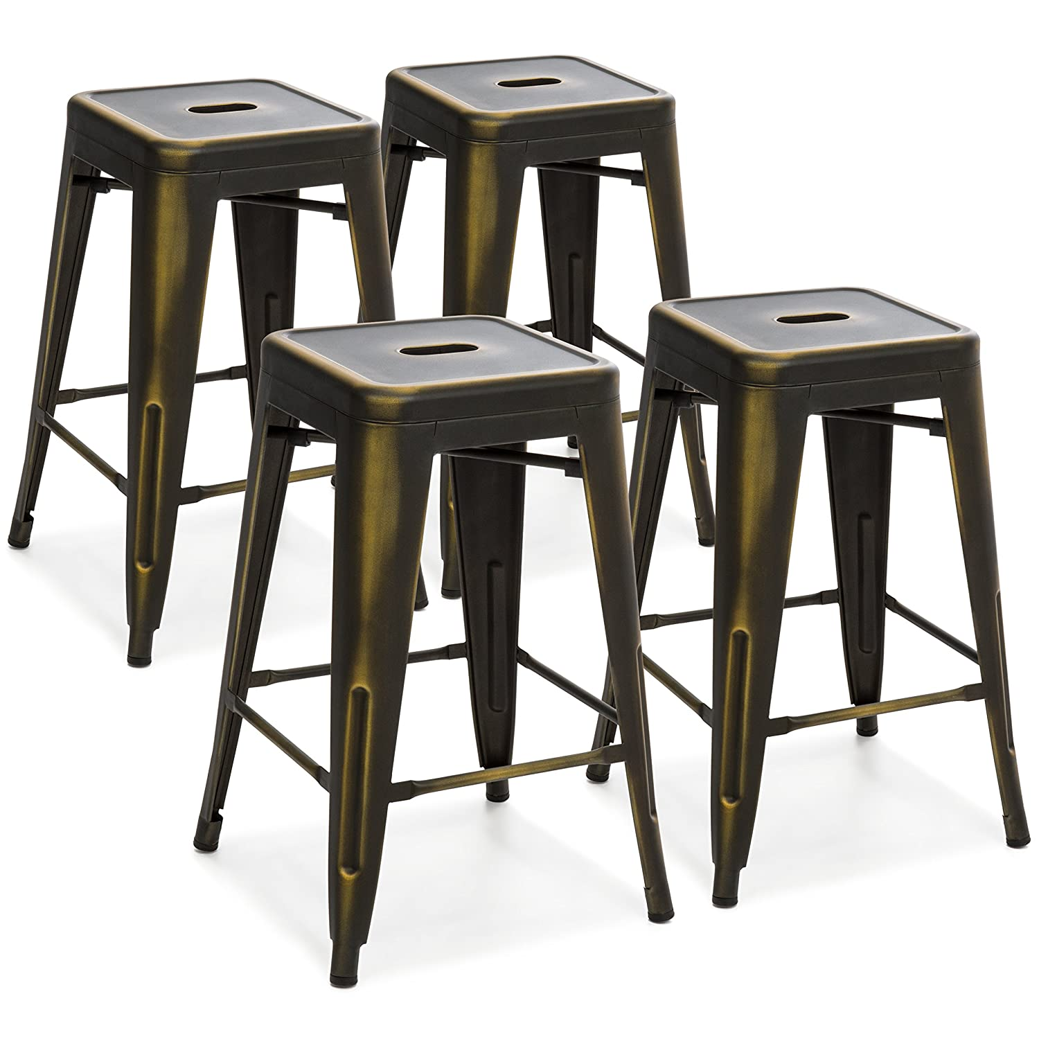 96e41fff21f27 Amazon.com  Best Choice Products 24in Set of 4 Stackable Modern Industrial  Distressed Metal Counter Height Bar Stools - Copper  Kitchen   Dining