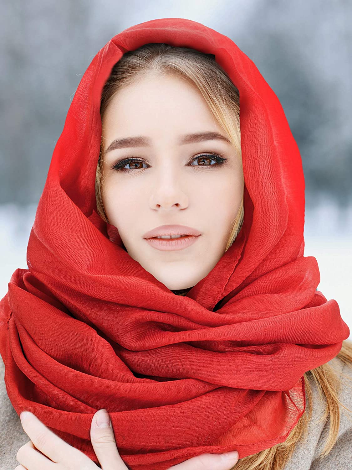 Women Cotton Scarf Lady Light Soft Solid Scarf Wrap Large Sheer Shawl Wraps for Adult Kids Using
