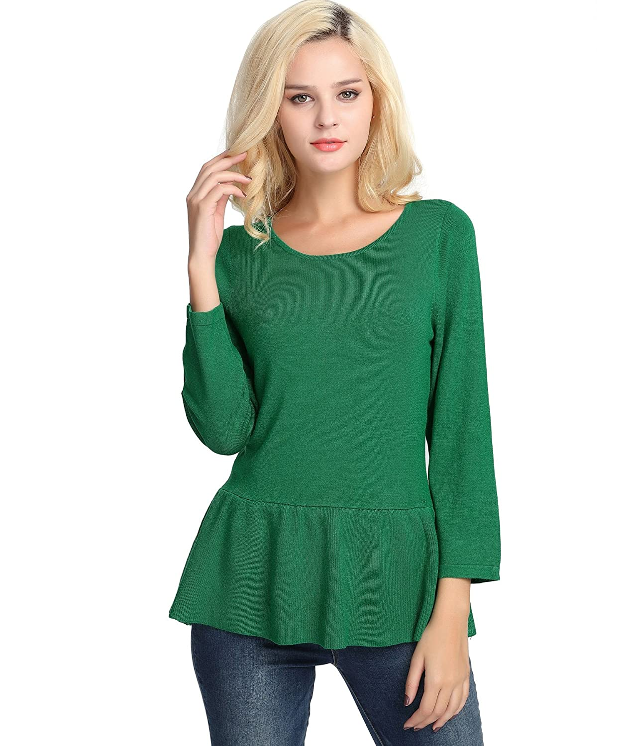 380ab3f0300 Soft and breathable high stretchy knit material gives you all day max  comfort. ♢Casual crew neck 3 4 sleeves sweater creates a relax on you and  calm effect ...