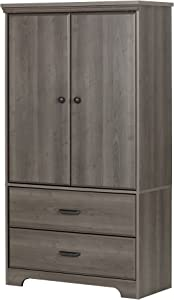 South Shore 2-Door Armoire with Adjustable Shelves and Storage Drawers, Gray Maple