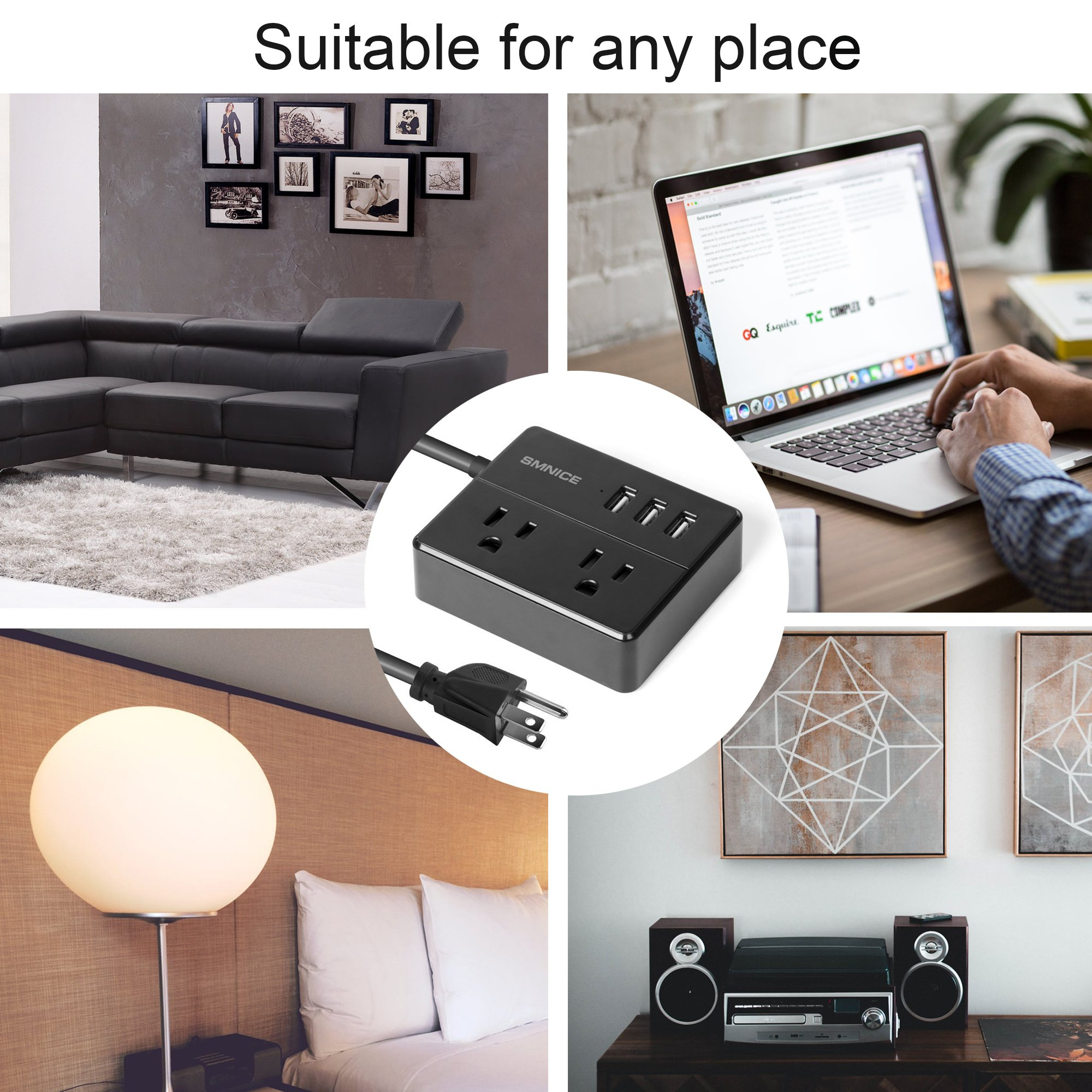 Portable Desktop Power Strip,SMNICE Travel Power Strip with 3 USB Smart Charging Station 2 Outlets and Child Safety Cover for Home Travel,5Ft Cord-BLACK (Black) by SMNICE (Image #7)