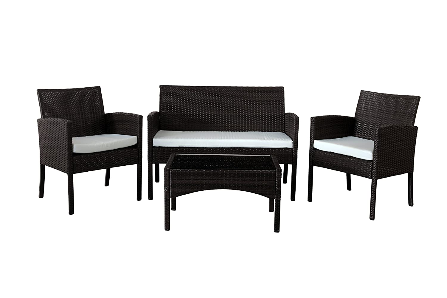 Comfy Living Rattan Garden Furniture Set Patio Funiture 4 Peice Set in Black