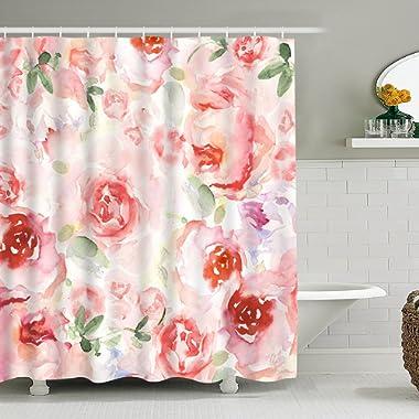 Bathroom Shower Curtain Romantic Watercolor Flowers Shower Curtains, Durable Fabric Bathroom Curtain Mildew Resistant Waterproof Bath Curtain Set with 12 Hooks