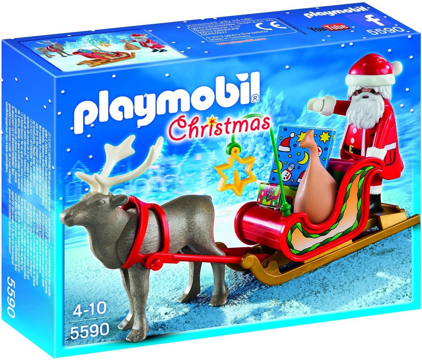 PLAYMOBIL - Christmas Trineo de Papá Noel con Reno Playsets de Figuras de jugete, Color Multicolor (5590)