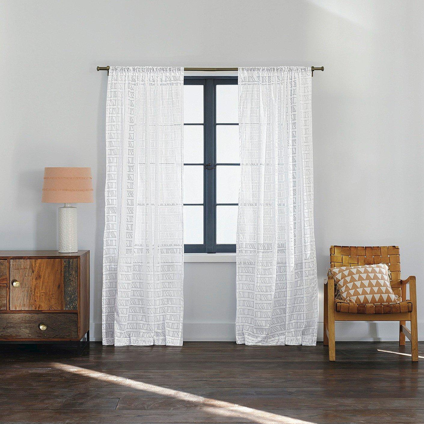 amazoncom nate berkus diagonal burnout sheer curtain panel white home u0026 kitchen - Sheer Curtain Panels
