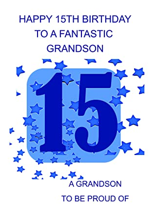 Grandson 15 Birthday Card Amazon Office Products