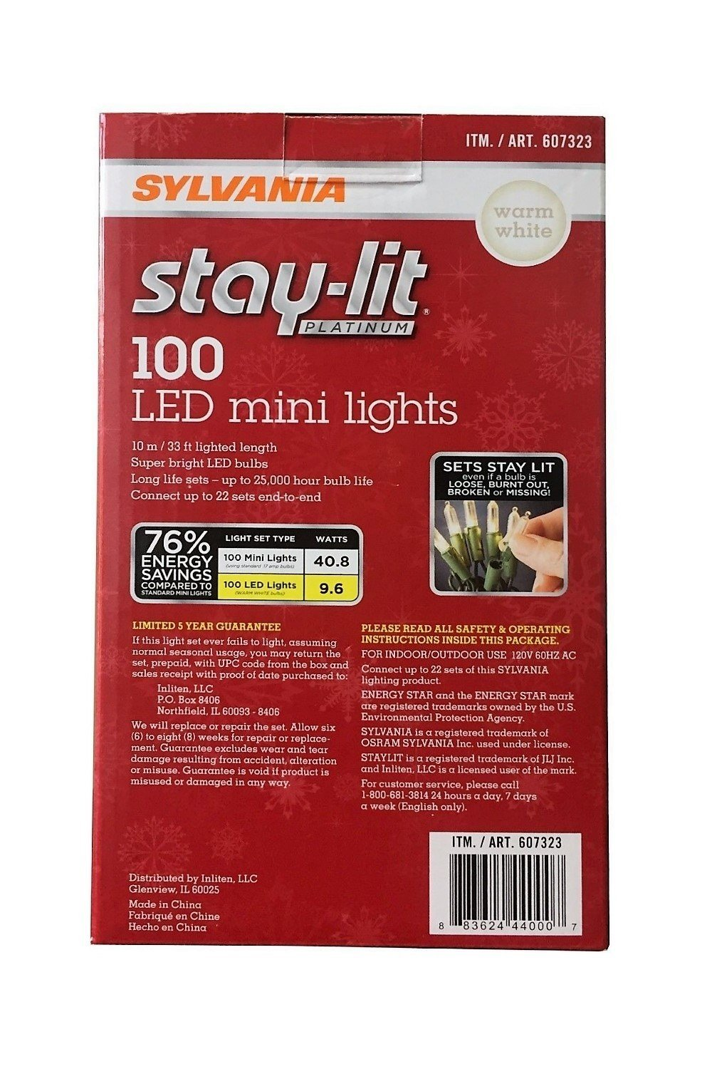Sylvania Stay-Lit Platinum LED Indoor//Outdoor Christmas String Lights 100ct mini lights, Warm White Various Colors /& Sizes