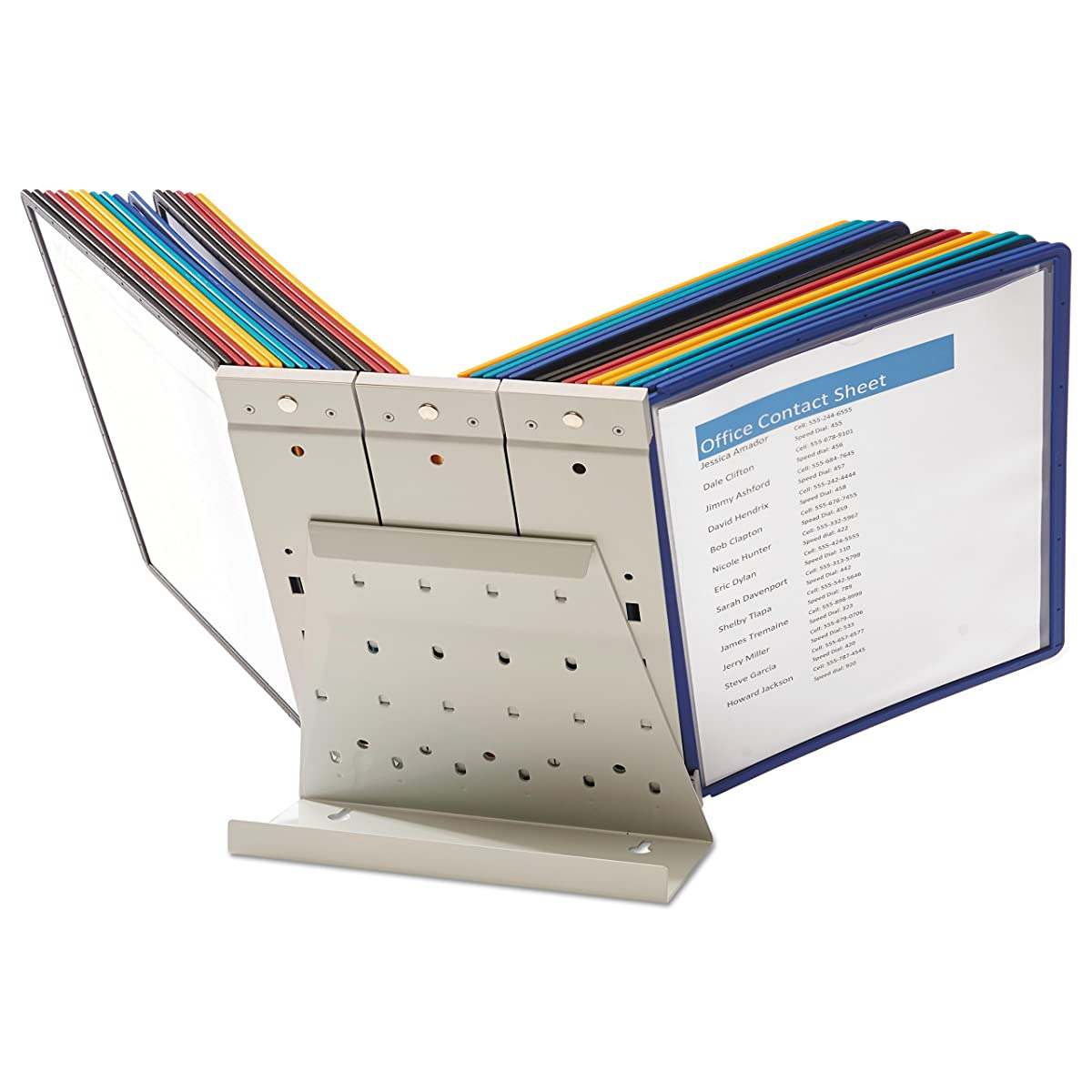 DURABLE VARIO 10-Panel Desktop Reference System, Assorted Color Borders (536000)