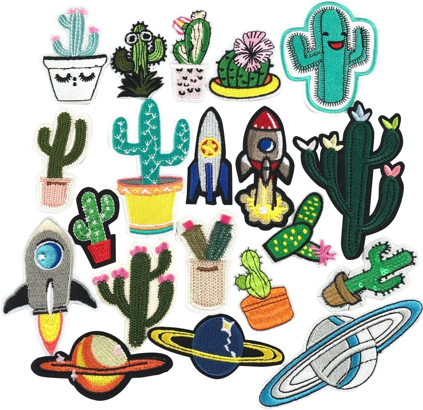 YAKA 20pcs Assorted Iron Embroidery Patches Cactus Kits, Embroidery Applique Sewing for Jackets Dress Hat Vest Jeans Backpacks Clothes, Decoration Applique Patch DIY Accessory Cactus