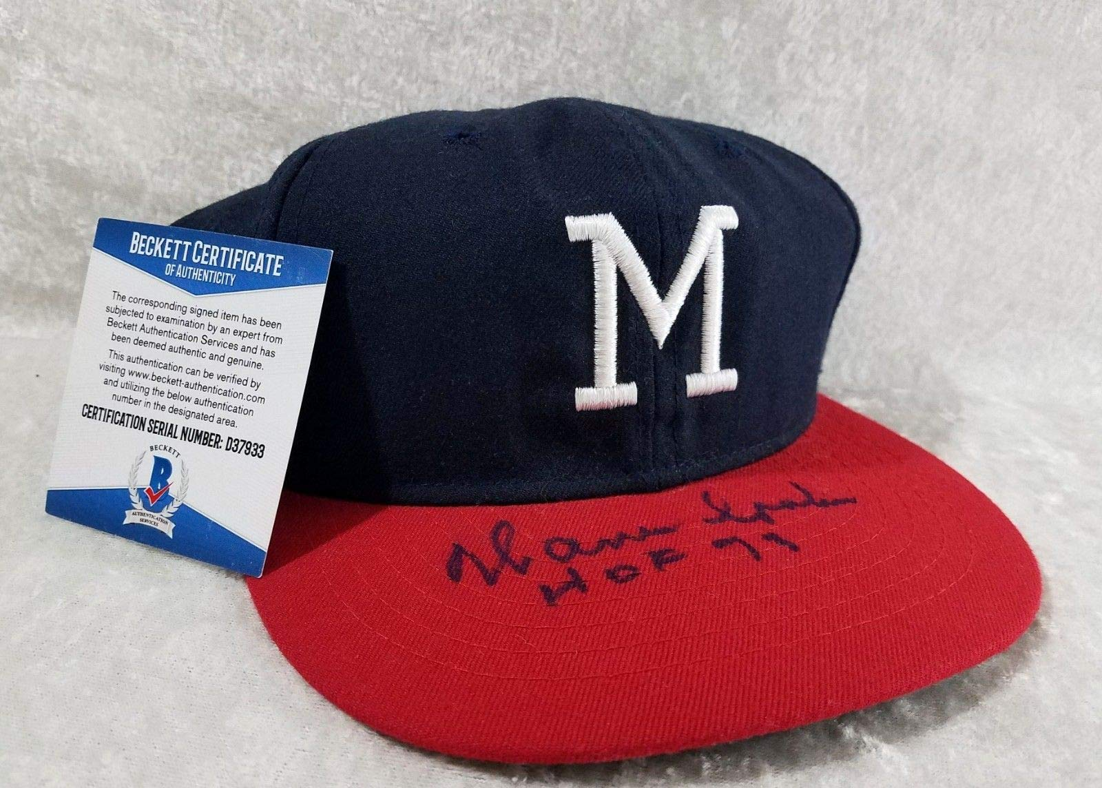 Warren Spahn Milwaukee Braves HOF Autographed Signed Hat Beckett Authentic