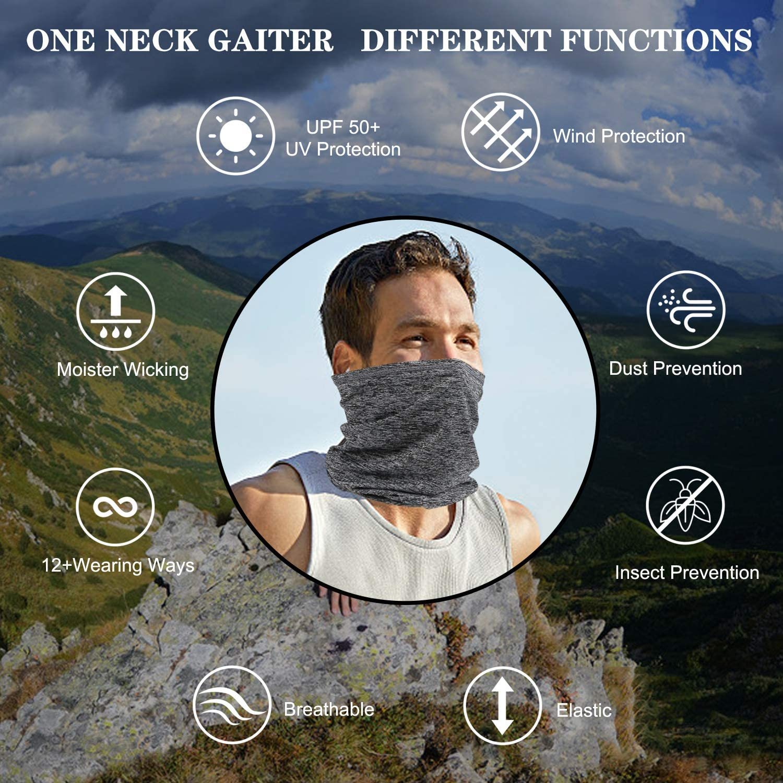 Balaclava Neck Gaiter Face Scarf Cover Mixture Colors Headwear Bandana Large, Snow Grey