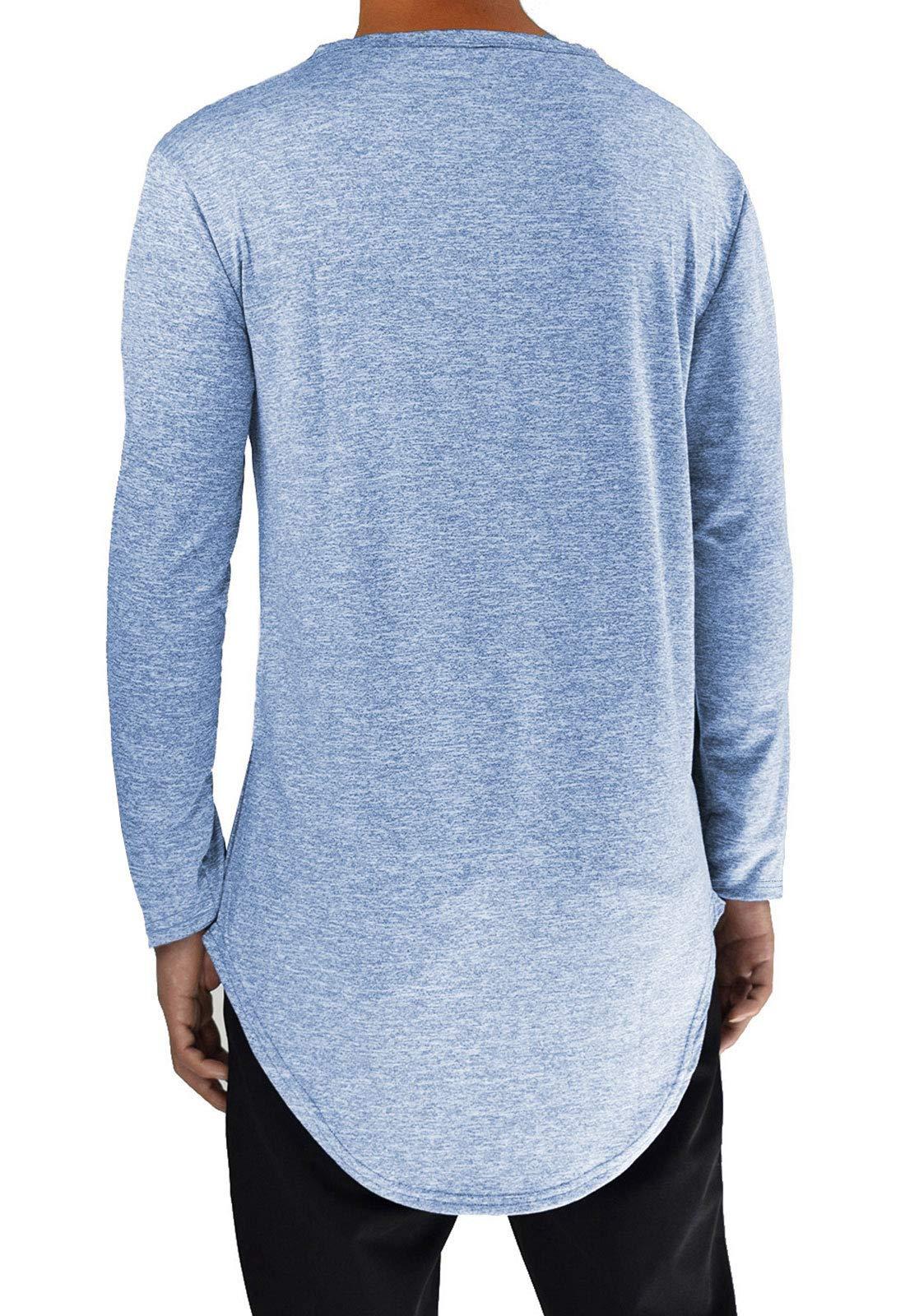 86019f182 Moomphya Mens Extend Long Tail Hipster Hip Hop Streetwear T Shirts Curve Hem  Long Sleeve Slim Longline T-Shirt