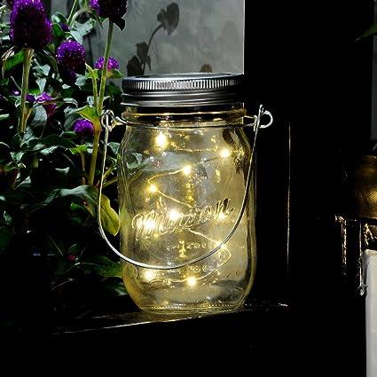 Mason Jar luz 3 Pack – Solar 10 LED guirnalda de luces que cambia de color